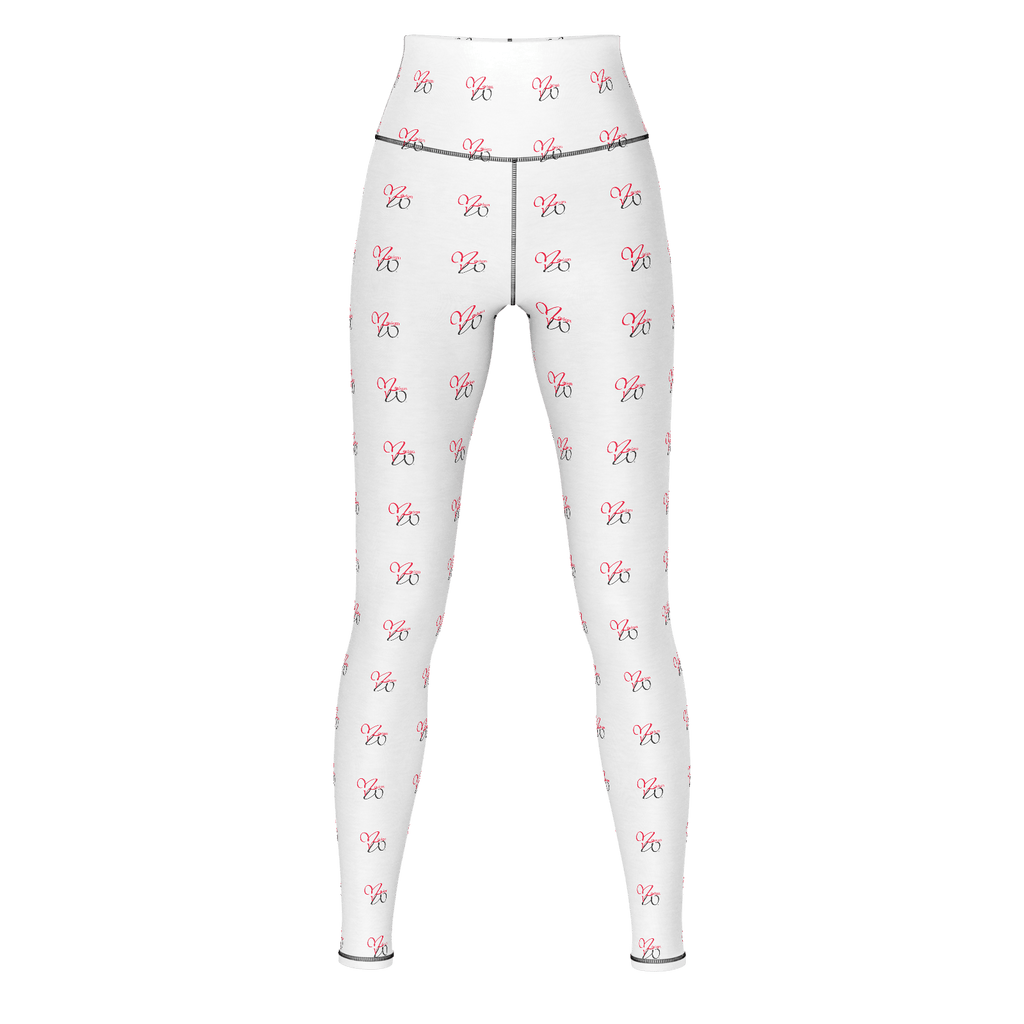 MHP Red Heart Love MW Design Allover Print Yoga Pants White