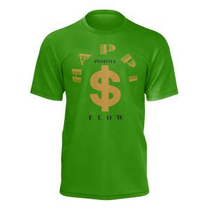 MHP Happi Positive Cash Flow Tee for Men's Money Green/Gold/Black 100% Pima Cotton
