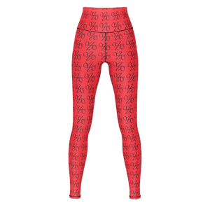 MHP Infinity Love MW Design Allover Pattern Yoga Pants Red/Blk