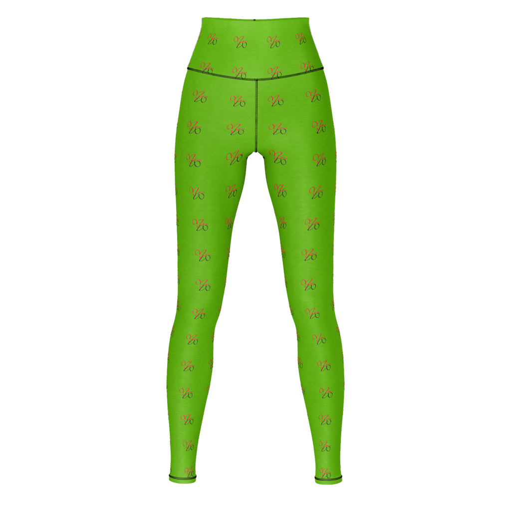 MHP Red Heart Love MW Design Allover Print Yoga Pants Olive