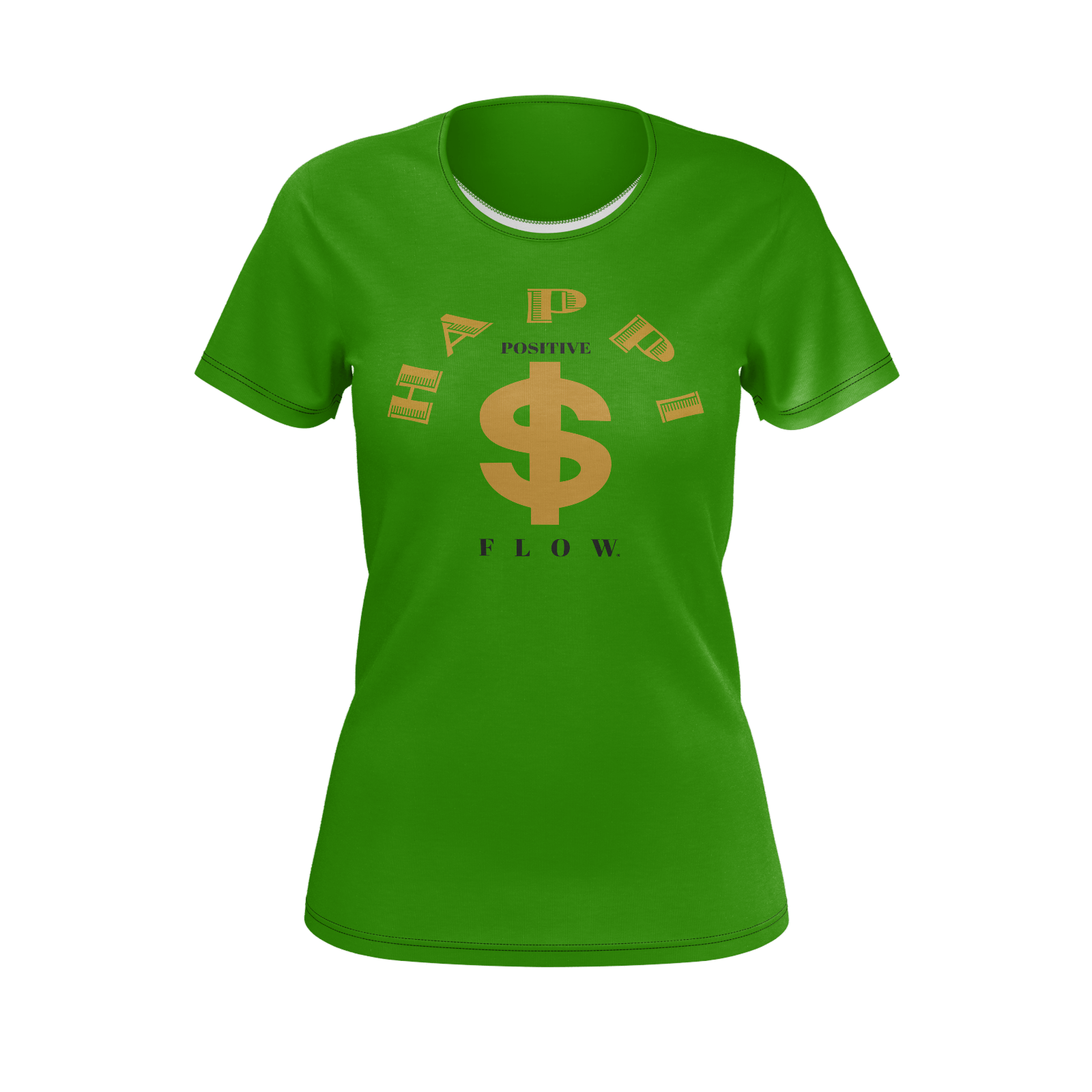 MHP Happi Positive Cash Flow Tee for Women Money Green/Gold/Black 100% Pima Cotton