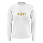 My Happi Place Simple White Long Sleeve Sweat Shirt 100% French Terry Cotton