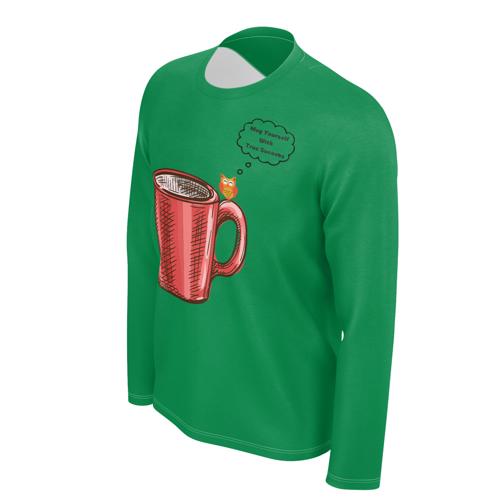 "MW Design ""Mug Yourself With True Success"" Men's Success Green 100% Pima Cotton"