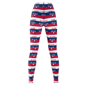 MHP My Happi Place Patriotic Red White Blue Yoga Pants
