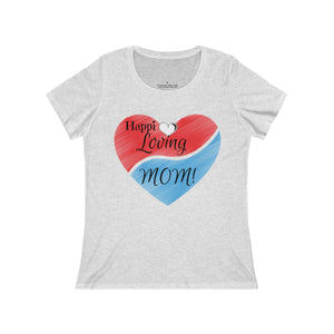 "Women's ""Happi Loving Mom"" D1 Relaxed Jersey Short Sleeve Scoop Neck Tee"
