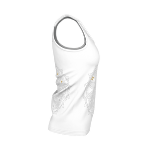 MHP Happi Medallion Yoga Tank Top wht/gry/gold 100% Pima Cotton