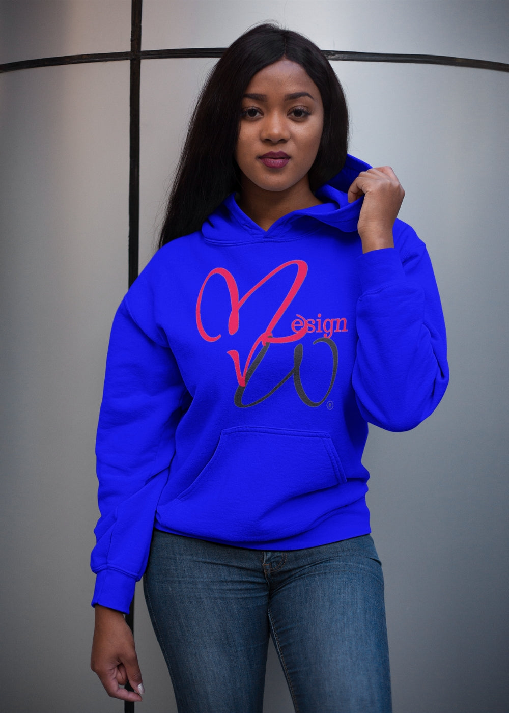 MHP Love MW Design Red Heart Blue Pullover Hoodie 100% French Terry Cotton