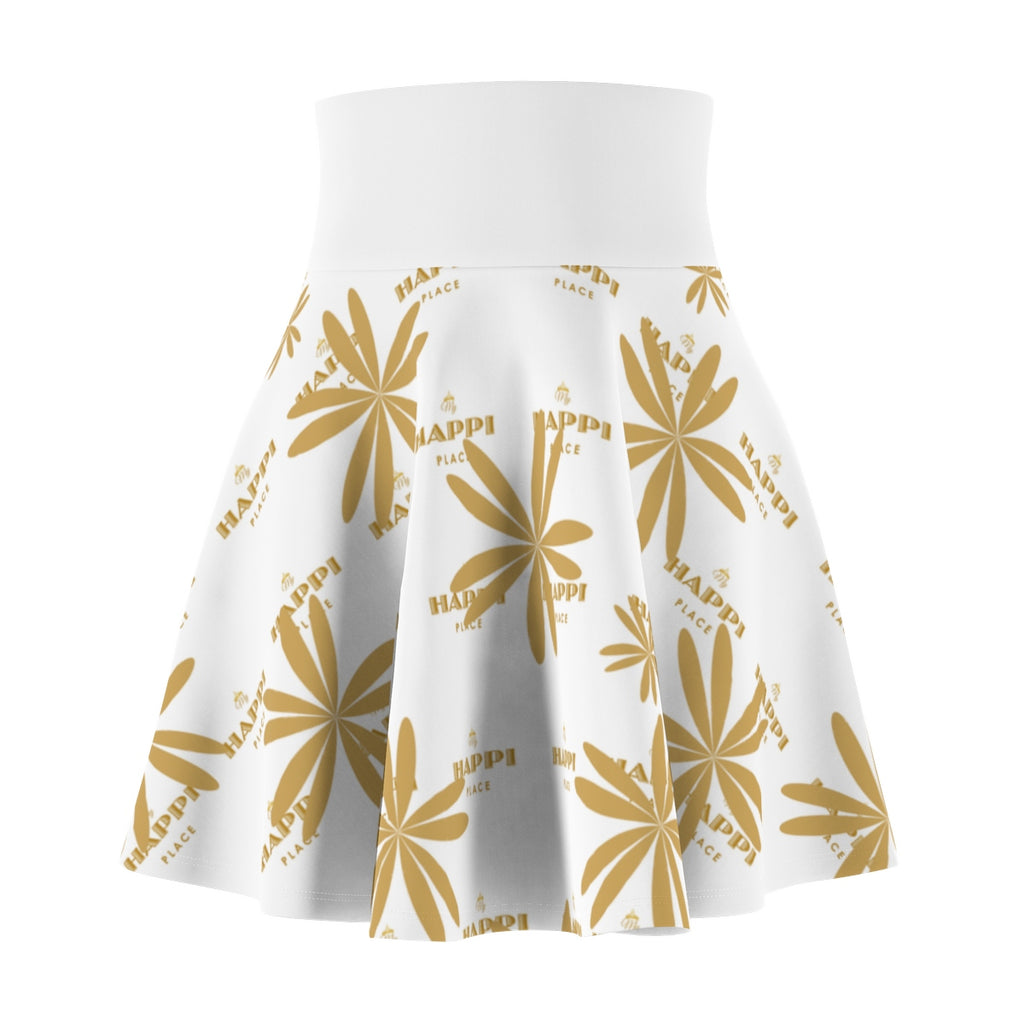 """My Happi Place"" White & Gold MHP Tiara and Flowers Women's Skater Skirt"
