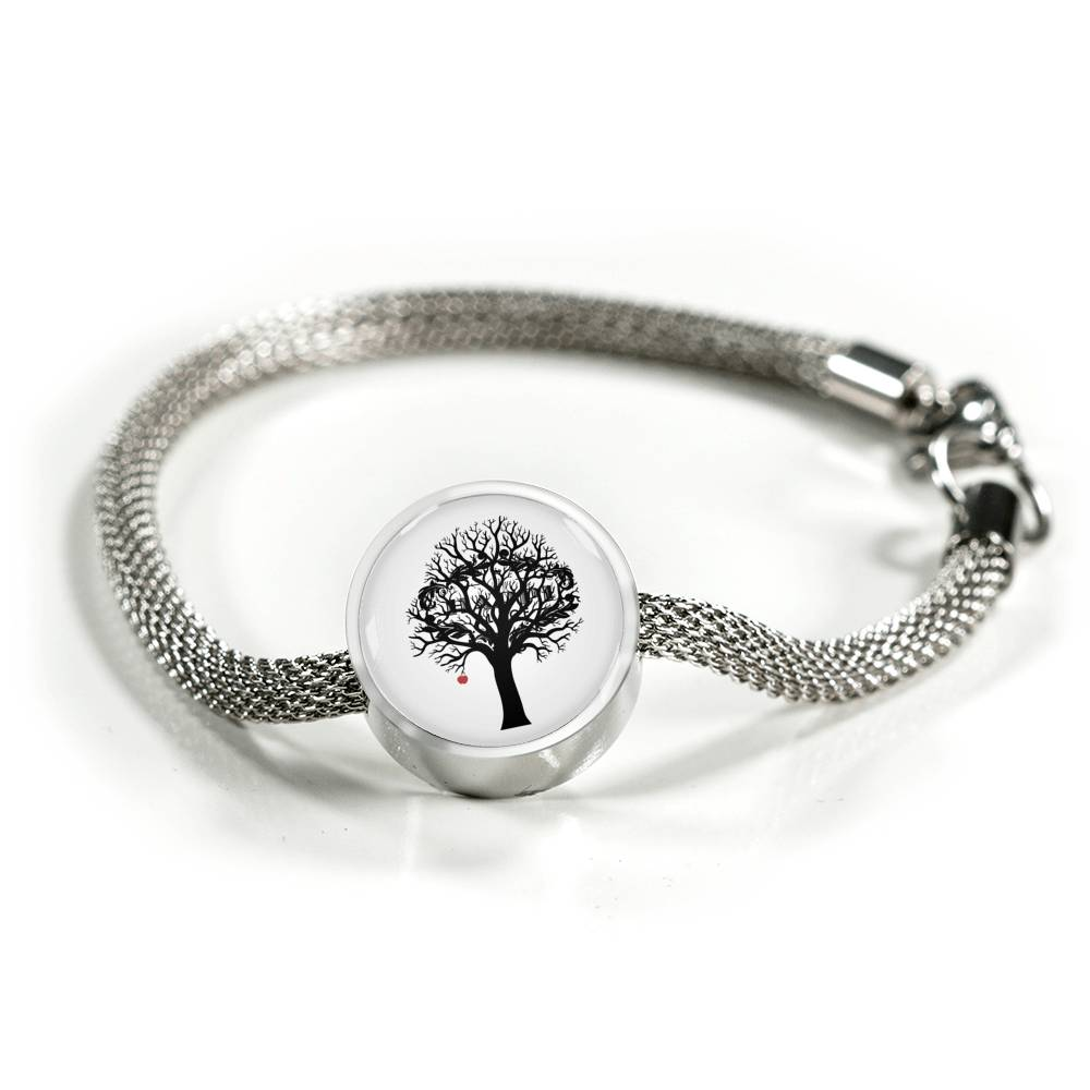 "MHP ""Optimistic Thinking Tree w/ Red Apple and Hidden My Happi Place"" Silver Charm & Bracelet"