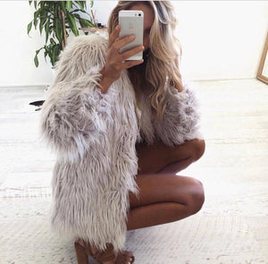 NATURAL IT GIRL FAUX FUR JACKET