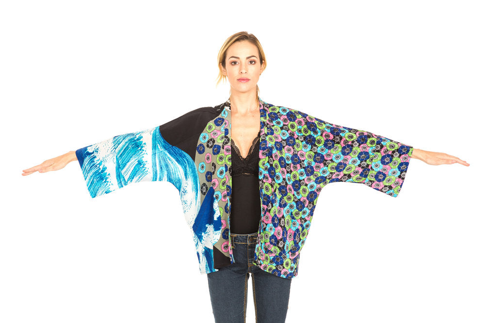 kimono, kimono jacket, silk kimono jacket, japanese kimono jacket, one of a kind, resort wear, hand printed, japanese short kimono, haori kimono, japanese cardigan, resort wear cardigan, short cardigan, summer cardigan, unique clothing, cardigan jacket, unique kimono jacket, cover up kimono,  beachwear kimono, cover up