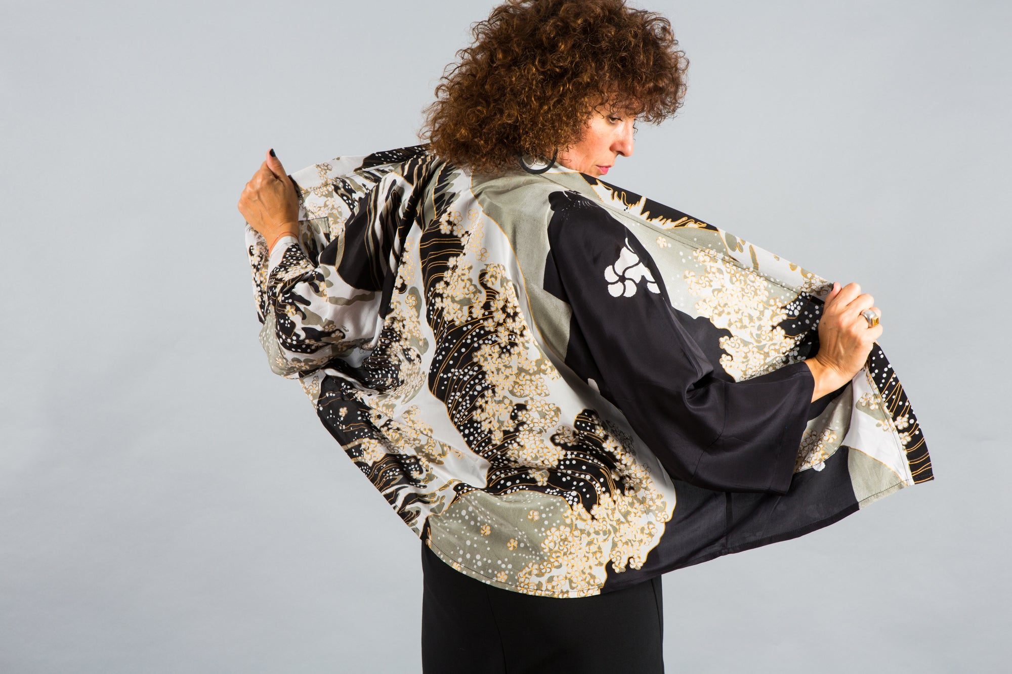 Black jacket, black kimono, kimono, silk, silk kimono, silk kimono jacket, cover up, cardigan, resort clothing