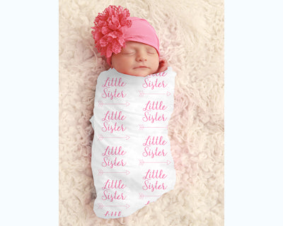 Baby Girl Little Sister Personalized Swaddle