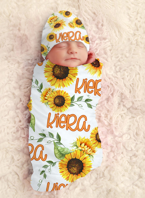 Baby Girl Sunflower Personalized Swaddle