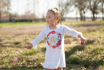 Toddler Girl's Floral Wreath Birthday Dress