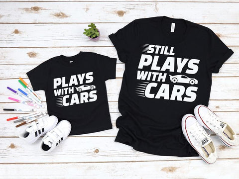 Plays With Cars Matching Shirts