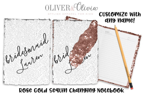 Personalized Bridesmaid Sequin Notebook