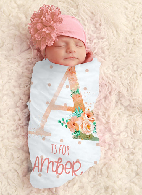 Baby Girl Initial Personalized Swaddle
