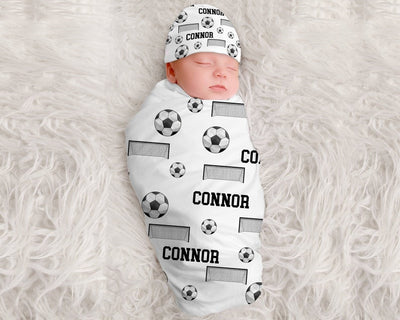 Baby Boy Soccer Personalized Swaddle