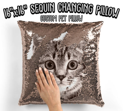 Personalized Cat Photo Sequin Pillow