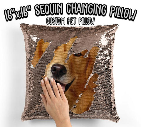Personalized Dog Photo Sequin Pillow