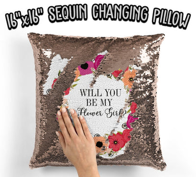 Will You Be My Flower Girl Sequin Pillow