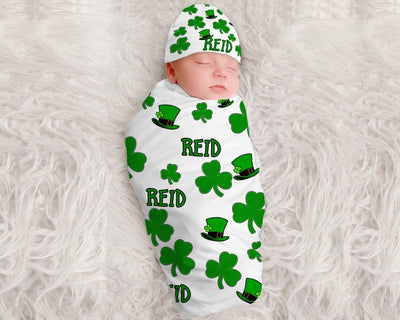 Baby Boy St Patrick's Clover Personalized Swaddle