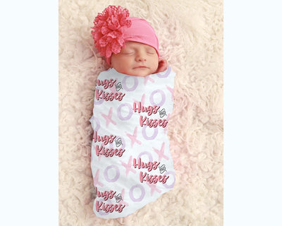 Baby Girl Hugs And Kisses Personalized Swaddle