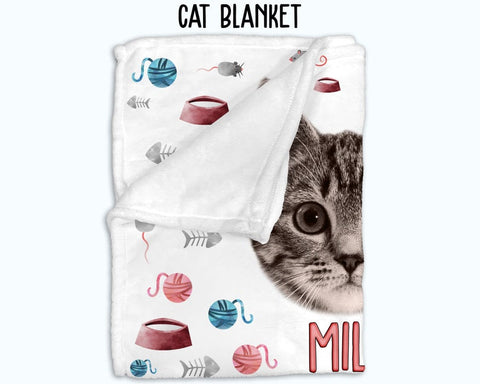 Personalized Cat Photo Blanket