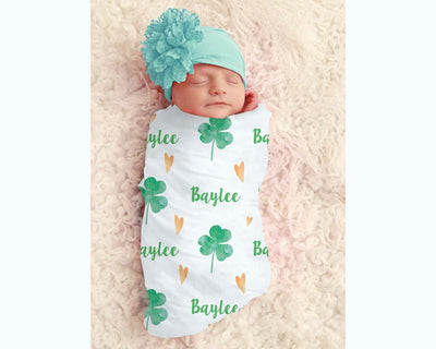 Baby Girl St Patrick's Clover Personalized Swaddle