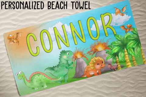 Personalized Dinosaurs Beach Towel