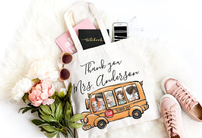 Personalized Thank You School Bus Teacher Bag