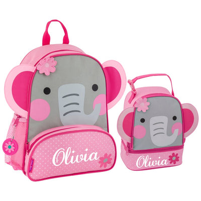 Kids Personalized Elephant Backpack + Lunchbox