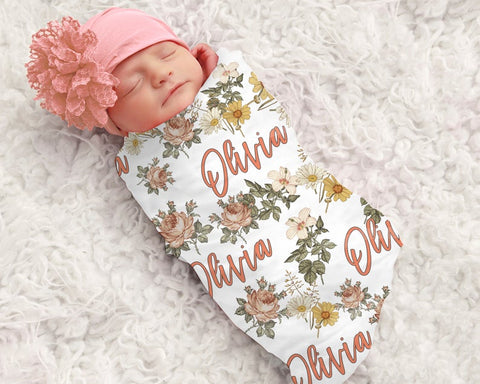 Baby Girl Floral Personalized Swaddle