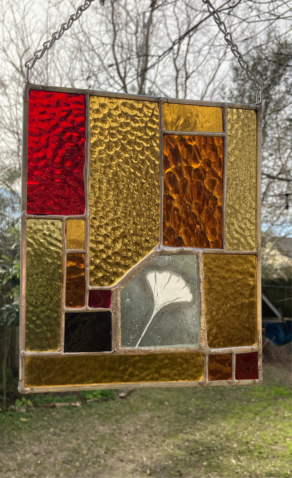 Ginkgo Stained Glass Panel