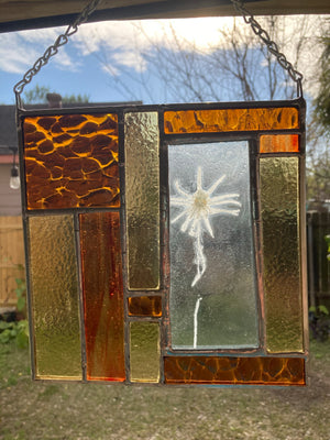 Blackeyed Susan Stained Glass Panel