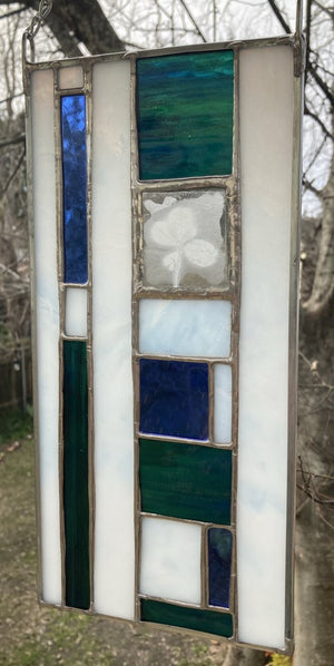 Four Leaf Clover Stained Glass Panel