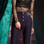 Mukzin Button Bead Mid Waist Zipper Women Straight Casual Pants - The Theater of Mao'er