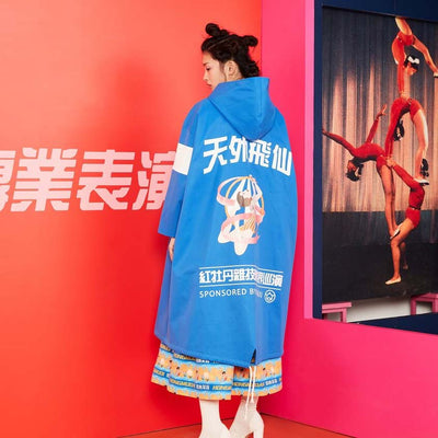 Mukzin Designer Long-sleeved Hooded Women Blue Trench Coat - HongMuDan Acrobatic Troupe