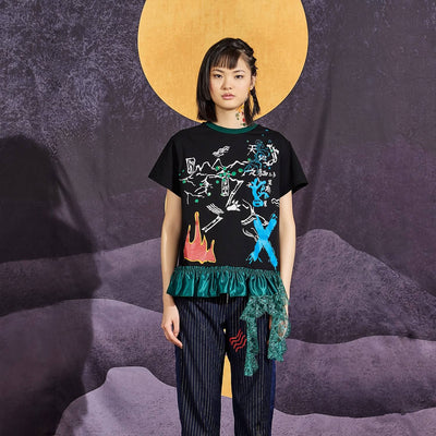 Mukzin Lace Stitching Round Neck Print Women Black T-shirt - Chaos of Mountains and Seas