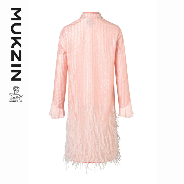 Mukzin Designer Brand Pink Pleated Modified Cheongsam Dress - SPACE IN THE GOURD