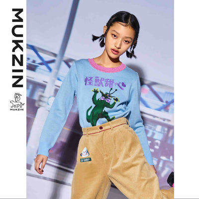Mukzin Designer Brand Cartoon Monster Pattern Jacquard Sweater - MONSTER SWEETHEART