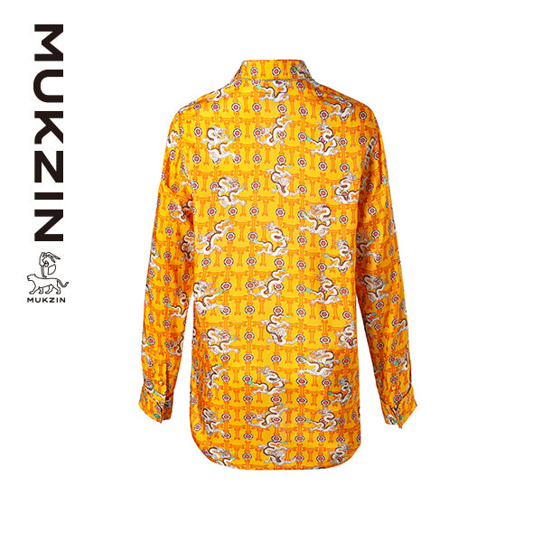Mukzin Designer Brand Yellow Dragon Print Shirt  - DRAGON SCALE PAVILION