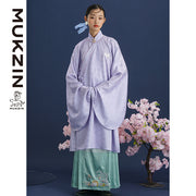 Mukzin Designer Brand Lavender Dress with Chinese Embroidery