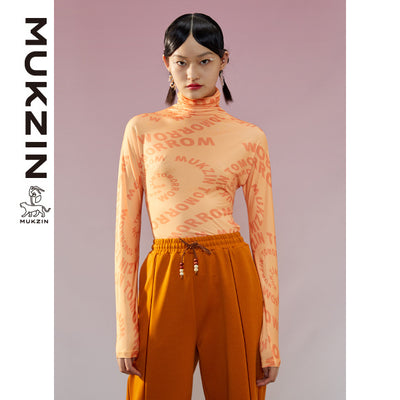 Mukzin Designer Brand High Collar Orange Bottoming Shirt-ADVENTURE IN SPACE