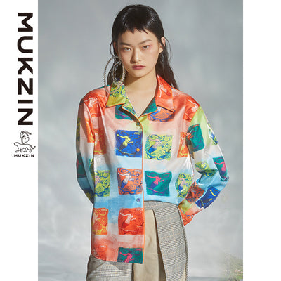 Mukzin Designer Brand Contrast Color Shirt - DRAGON SCALE PAVILION