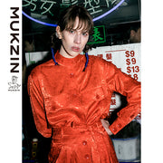 Mukzin Designer Brand NYFW Runway Show Edition Chinese Red Shirt-DRAGON SCALE PAVILION