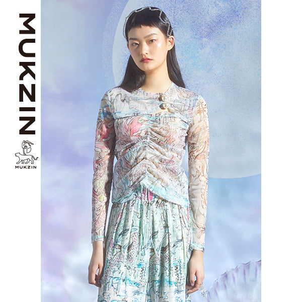 Mukzin Designer Brand  Mesh Floating Sleeve Shirt - DRAGON SCALE PAVILION