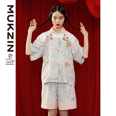 Mukzin Designer Chiffon Shorts with Phoenix Embroidery - DRAGON SCALE PAVILION