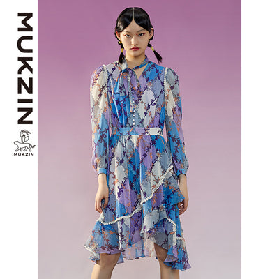 Mukzin Designer Brand Purple Dress Decorate with Pearl -ADVENTURE IN SPACE